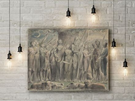 William Blake: Job and His Family Restored to Prosperity. Mythological Fine Art Canvas.